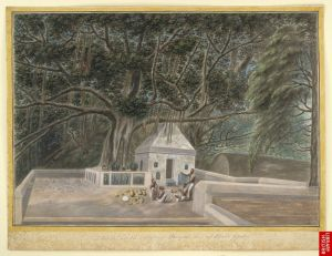 800px-A_small_temple_beneath_the_Bodhi_tree,_Bodh_Gaya,_c._1810